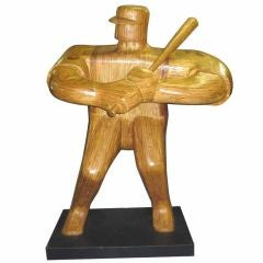 Monumental Wood Baseball Player Sculpture by Hy Farber