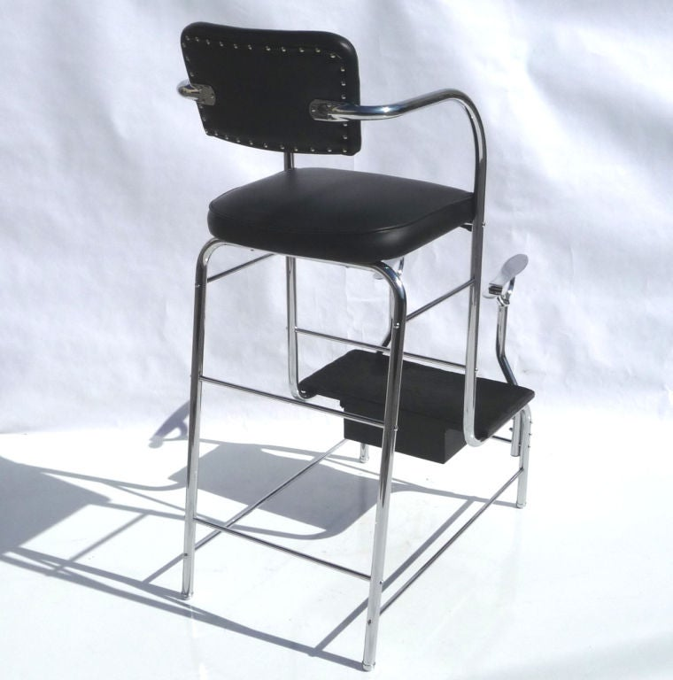 Tubular Chrome Art Deco Shoe Shine Stand At 1stdibs