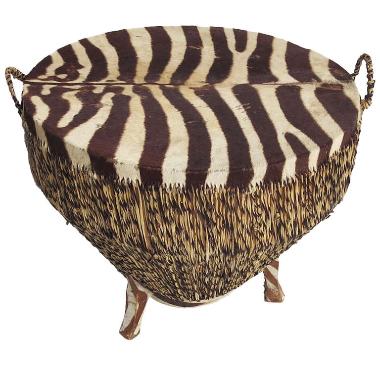 Zebra Skin Drum Occasional or Coffee Table For Sale