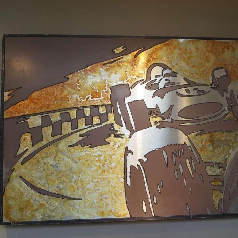 Unknown Vintage Indy Race Car Metal Wall Art - & Vintage Indy Race Car Metal Wall Art -
