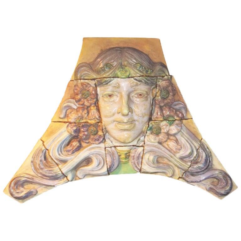 Monumental Art Nouveau Architectural Glazed Terracotta Head For Sale