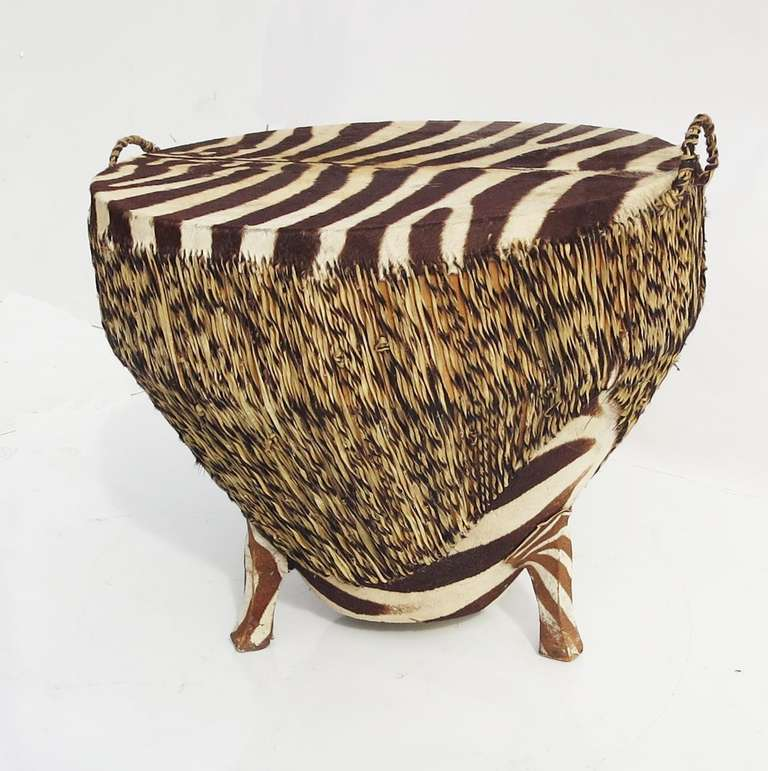 Zebra Skin Drum Occasional Or Coffee Table At 1stdibs