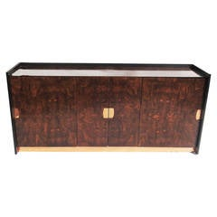 Striking Burled Wood Mid-Century Sideboard or Entertainment Cabinet