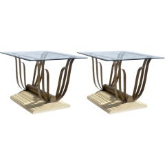 """Pair of Art Deco Sculpted Iron """"Butterfly"""" End Tables"""