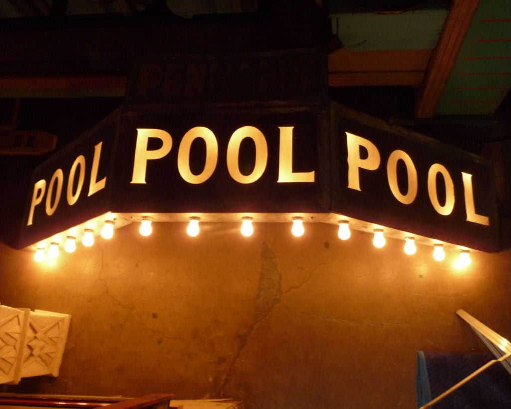 Incredible Painted Tin Lighted Pool Hall Marquee Sign At