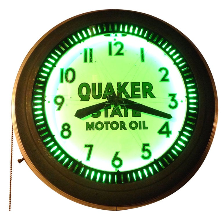 "Quaker State Motor Oil Neon ""Spinner"" Wall Clock at 1stdibs"