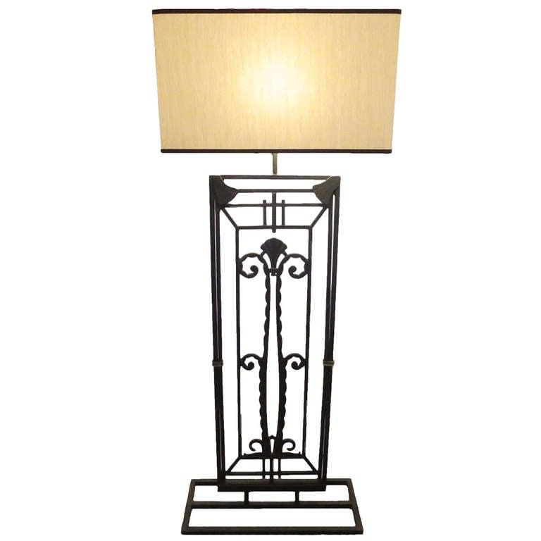 art deco formed iron floor lamp at 1stdibs. Black Bedroom Furniture Sets. Home Design Ideas