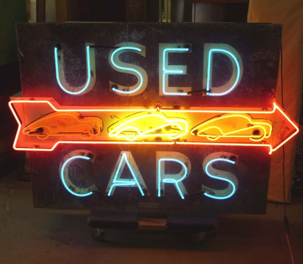 sign neon used cars sided animated double signs car sale american furniture dealer