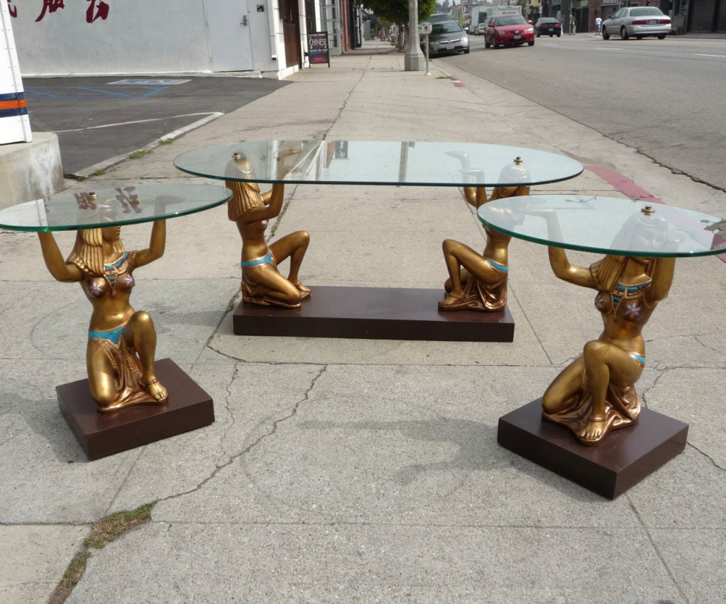 Cleopatra Egyptian Glass Topped Tables Image 3