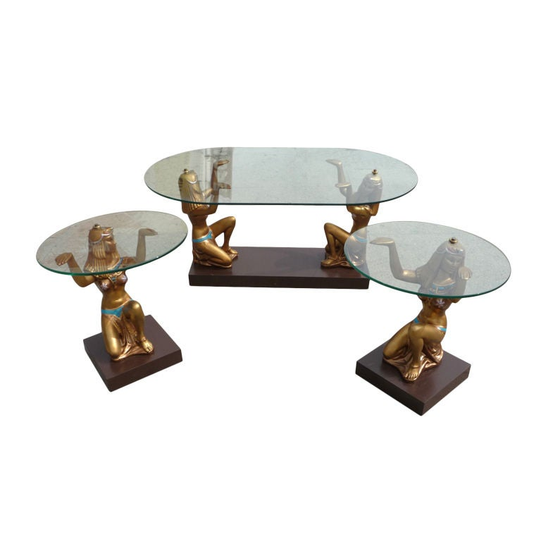 cleopatra egyptian glass topped tables at 1stdibs