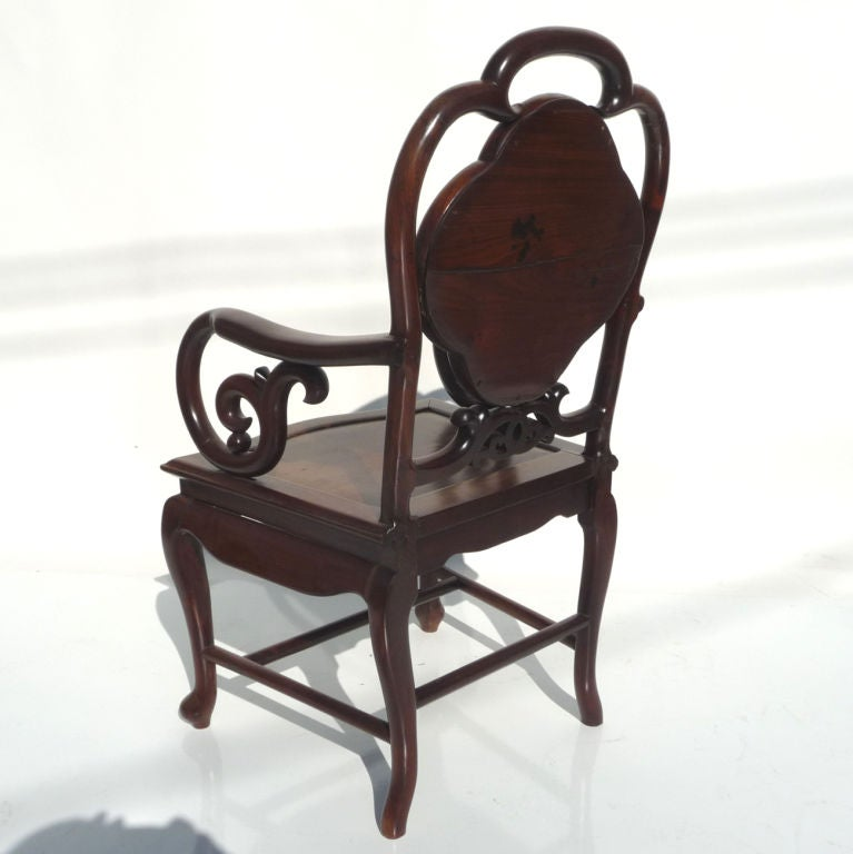 Solid rosewood and marble asian arm chairs for sale at 1stdibs for Asian chairs for sale