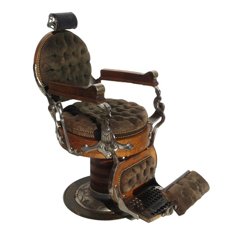 Turn Century Oak Barber Chair by E Berninghaus at 1stdibs