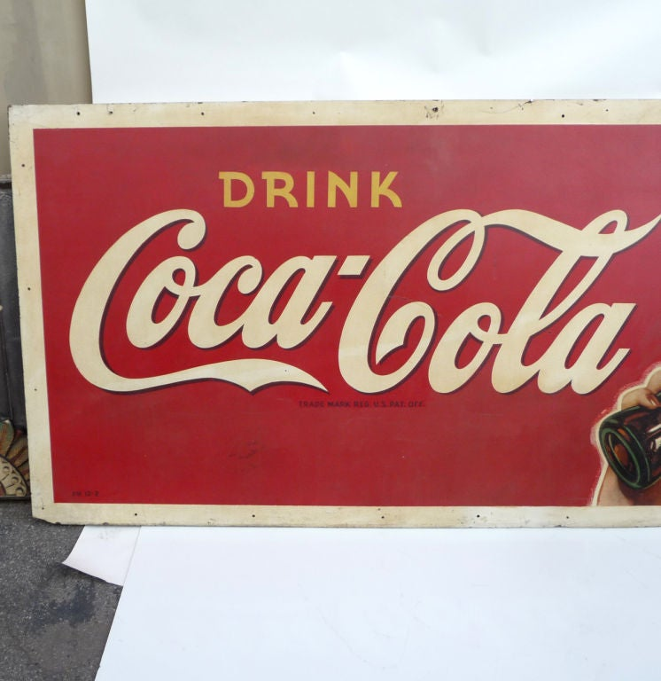 coca cola oversized advertisement on masonite board at 1stdibs