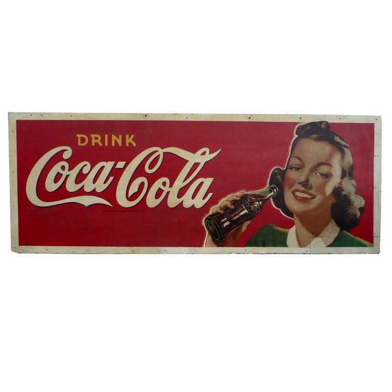 Coca Cola Oversized Advertisement on Masonite Board 1