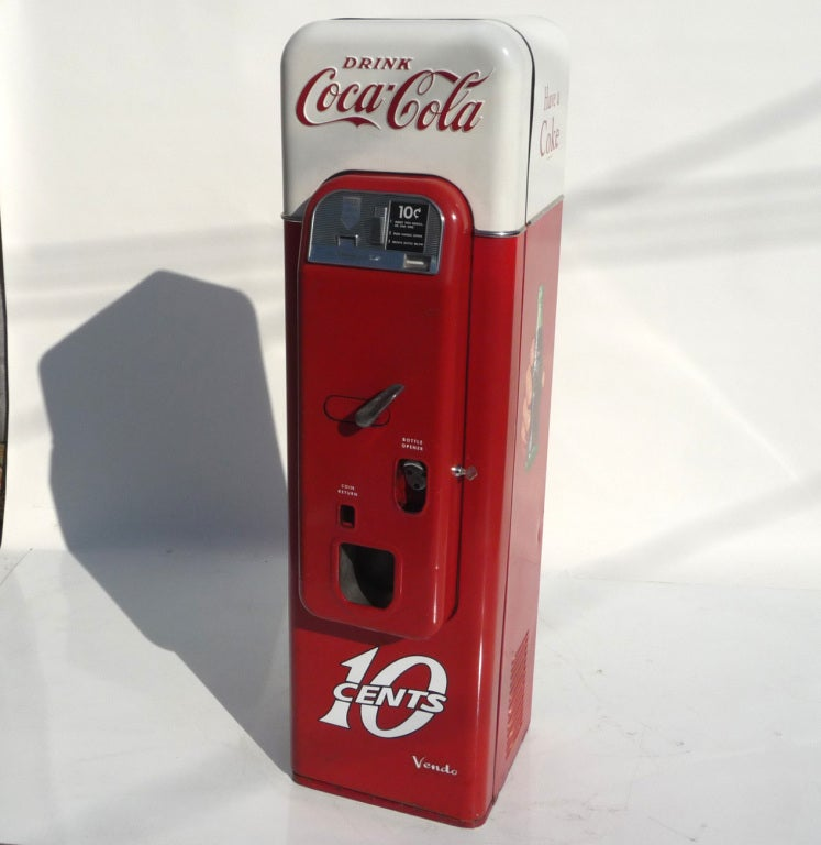 The rarest and most desirable of all soda vending machines is the Vendo Model 44. Created as a petite tower, it had the smallest footprint of any machine, and could fit almost anywhere. The capacity was not diminished, and it will hold 44 small Coca