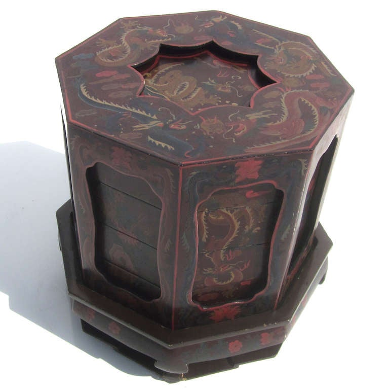 Painted dragons chinese wedding basket at 1stdibs for Chinese art furniture