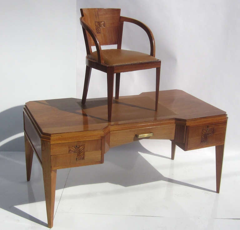 Elegant French Art Deco Desk and Chair at 1stdibs