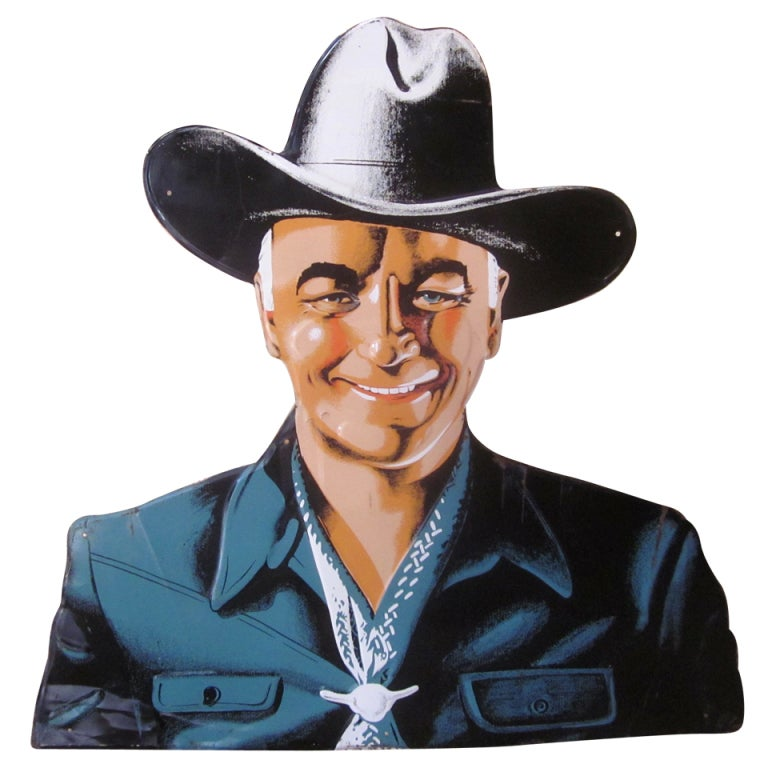 Hopalong cassidy die cut tin sign at 1stdibs for Furniture of america cassidy