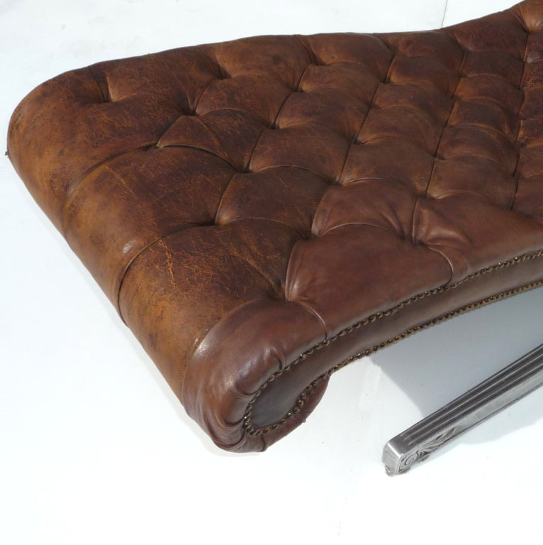 Chesterfield modern leather and aluminum chaise at 1stdibs for Modern leather chaise longue