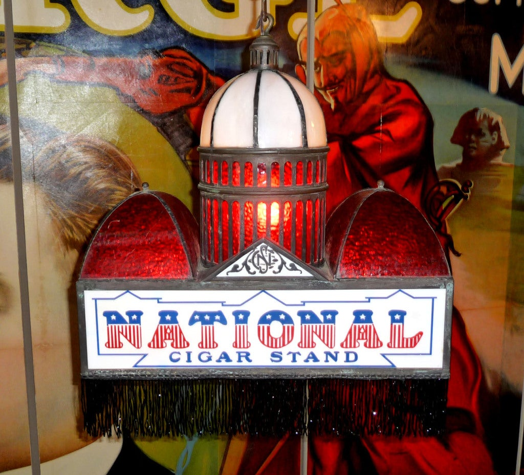 Leaded Glass Hanging National Cigars Lamp