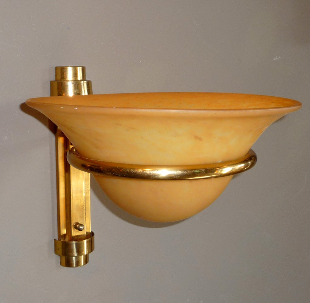 Art Deco Brass Wall Sconces : Art Deco Brass and Art Glass Sconces - Three Pairs Available at 1stdibs