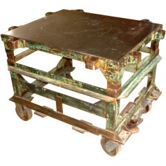 Fantastic Large Painted Steel Metal Industrial Rolling Table