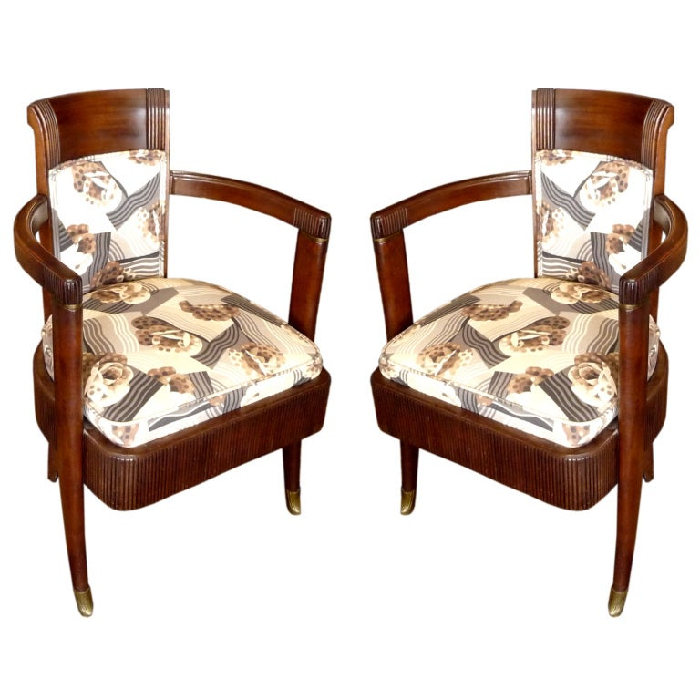 Pair of SS Normandie Art Deco Armchairs by Pierre Patout 1