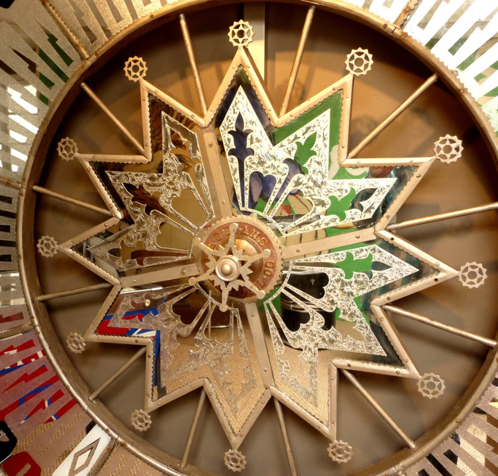 Wall Mounted Mirrored Wheel Of Fortune At 1stdibs