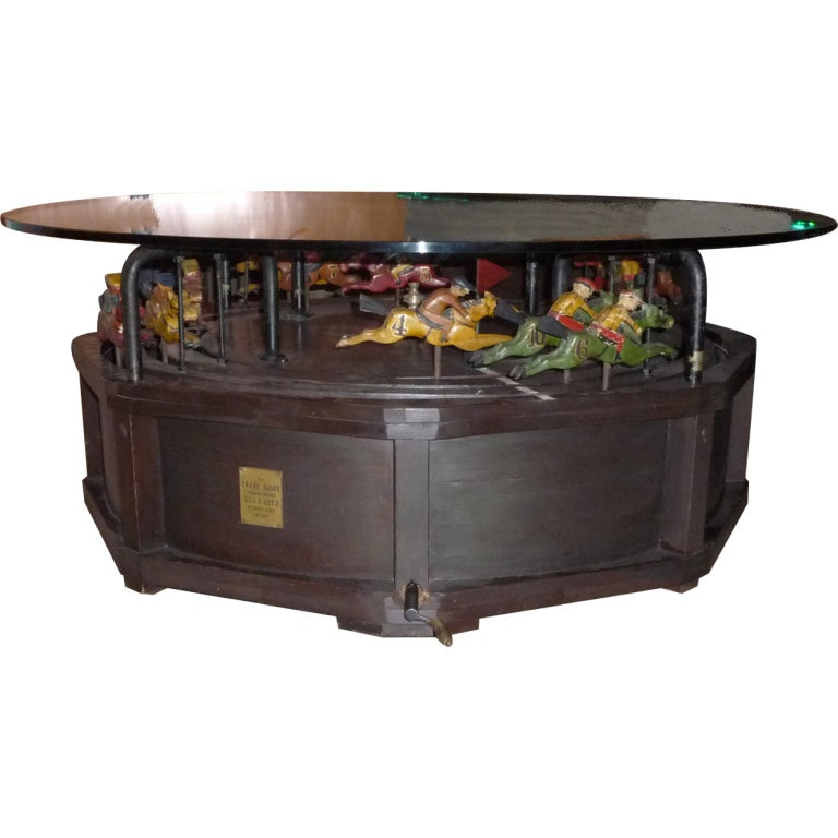 professional casino horse racing game coffee table at 1stdibs. Black Bedroom Furniture Sets. Home Design Ideas