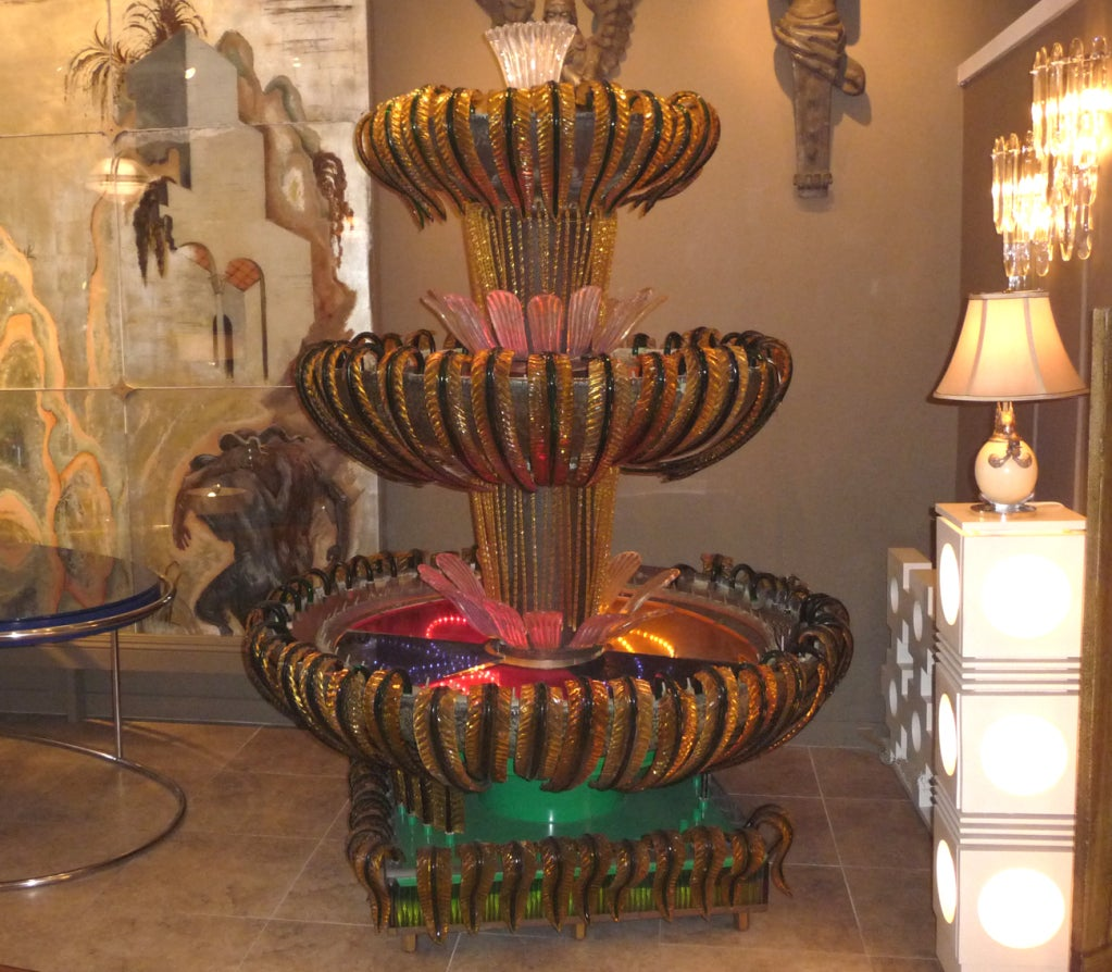 Monumental Murano Glass Three Tiered Fountain For Sale 3