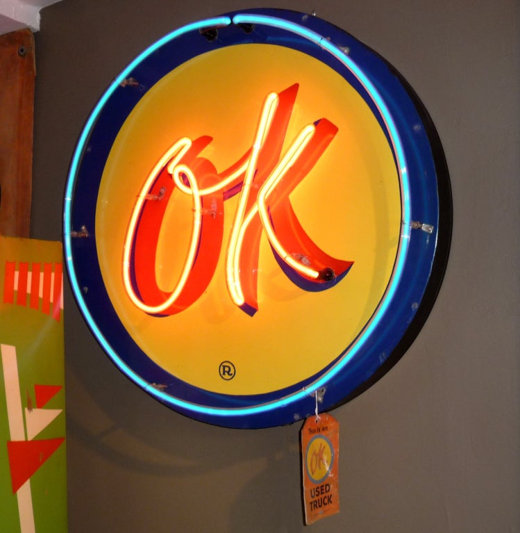 OK Chevrolet Neon and Porcelain Advertising Sign image 2