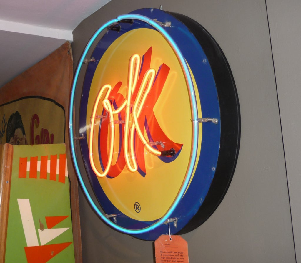 OK Chevrolet Neon and Porcelain Advertising Sign image 3