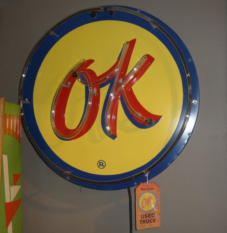 OK Chevrolet Neon and Porcelain Advertising Sign image 4