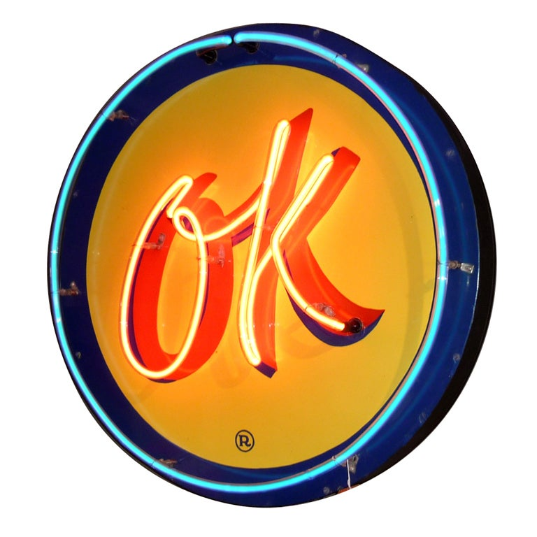 OK Chevrolet Neon and Porcelain Advertising Sign