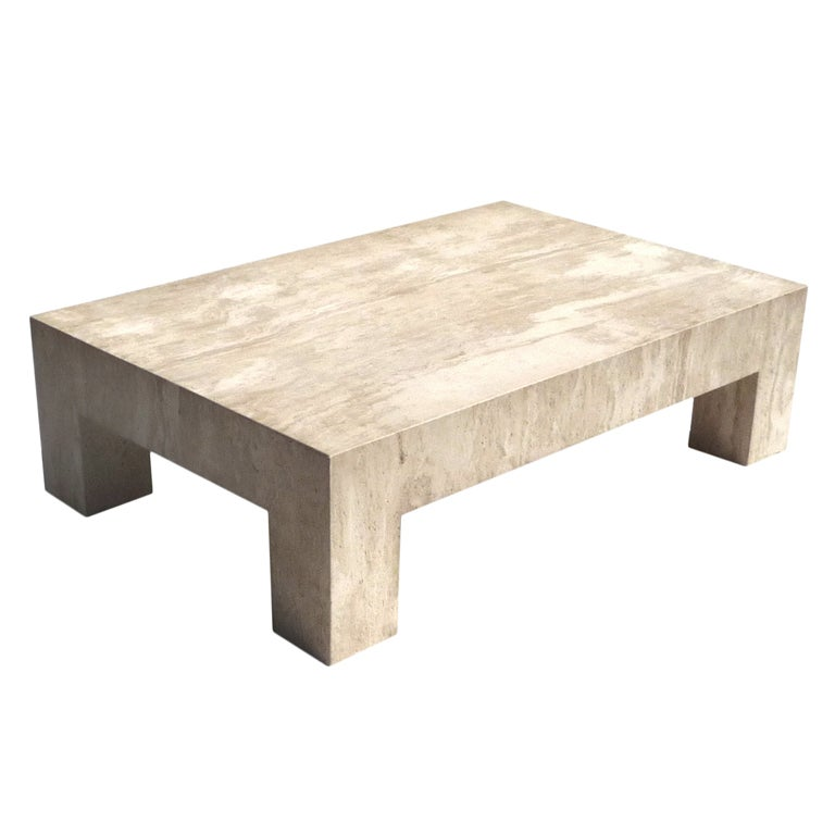 Architectural Travertine Coffee Table At 1stdibs