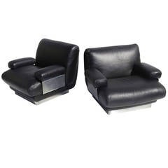 Jacques Charpentier Club Chairs in Buffalo Leather and Stainless Steel