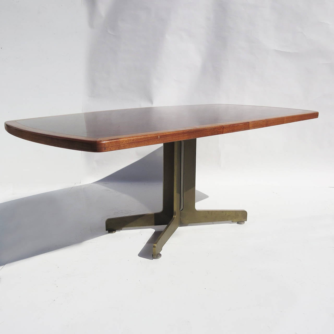 Walnut bronze and acid etched copper dining table by