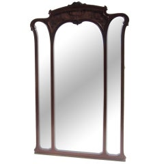Monumental Art Nouveau Carved Standing Full Length Mirror