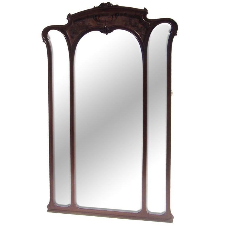 ... Art Nouveau Carved Standing Full Length Mirror For Sale at 1stdibs