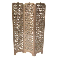 Asian Influenced Carved Mahogany Screen