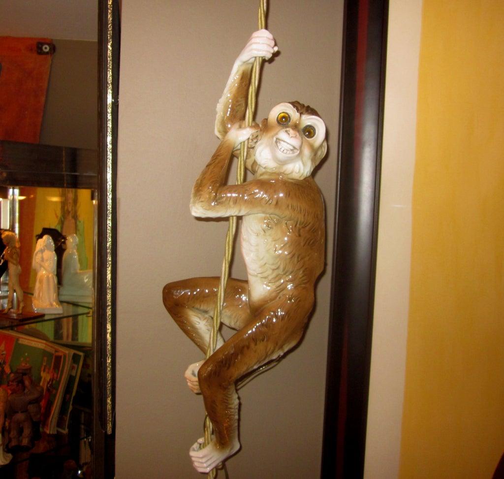 Hanging Monkey Lamp: Capodimonte Porcelain Hanging Monkey Lamp Image 2