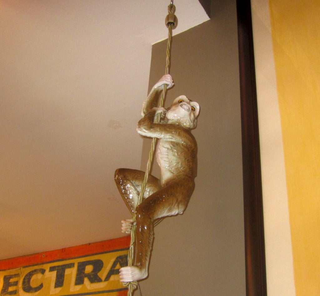 Hanging Monkey Lamp: Capodimonte Porcelain Hanging Monkey Lamp At 1stdibs