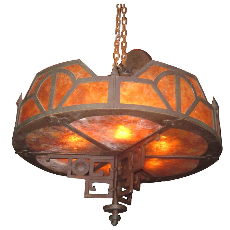 Craftsman Style Iron and Mica Chandelier at 1stdibs – Craftsman Chandelier