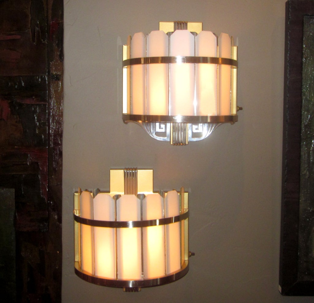 Art Deco Theater Wall Sconces : Pair of Art Deco Theater Wall Sconces at 1stdibs