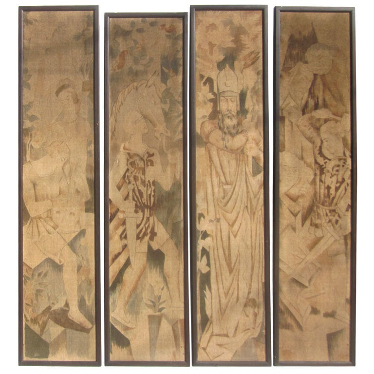 Art deco painted tapestry panels set of four for sale at for Art deco interior and panel designs