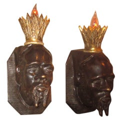 Solid Bronze Hollywood Regency Kings Head Sconces