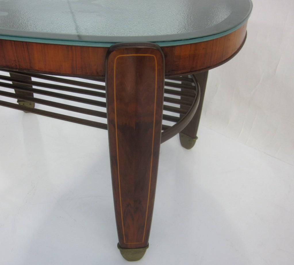 Etched Glass, Walnut And Bronze Coffee Table At 1stdibs