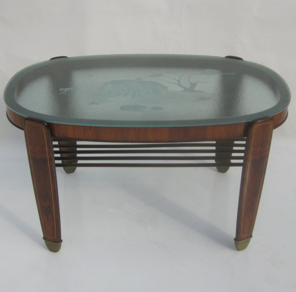 Etched glass walnut and bronze coffee table at 1stdibs Bronze coffee tables