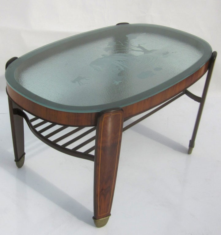 Etched Glass Walnut And Bronze Coffee Table At 1stdibs