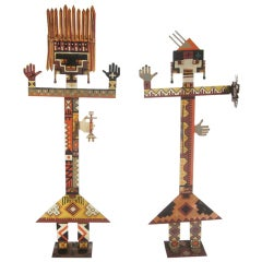 Large Scale Painted Iron Kachinas by Diaz